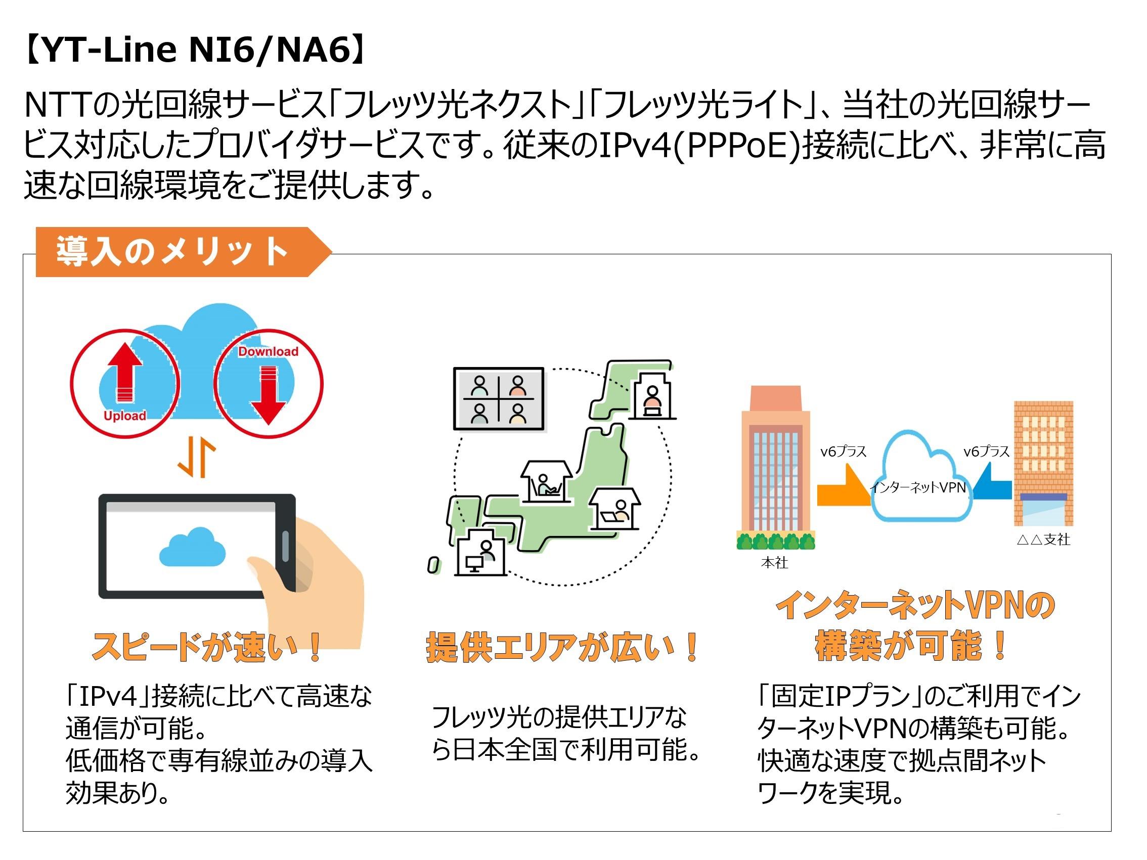 IPv6対応接続サービス「YT-Line NI/NA6」提供開始のご案内